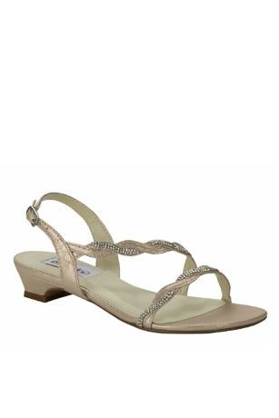 Dyeables Beige;Grey Heeled Sandals (Satin Sandals with Braided Crystal Straps)