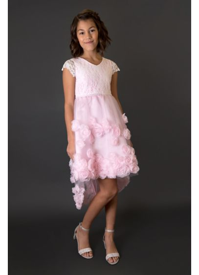 Floral Soutache Girls Dress with Beaded Waist - This beautiful girls dress is full of lovely
