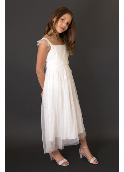 3D Flower Flutter Sleeve Girls Dress with Pearls - She'll be a vision of loveliness in this
