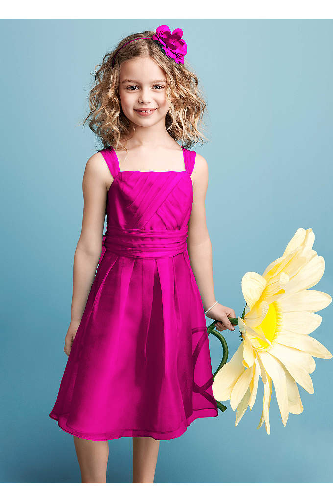 Sleeveless Organza Dress with Pleating