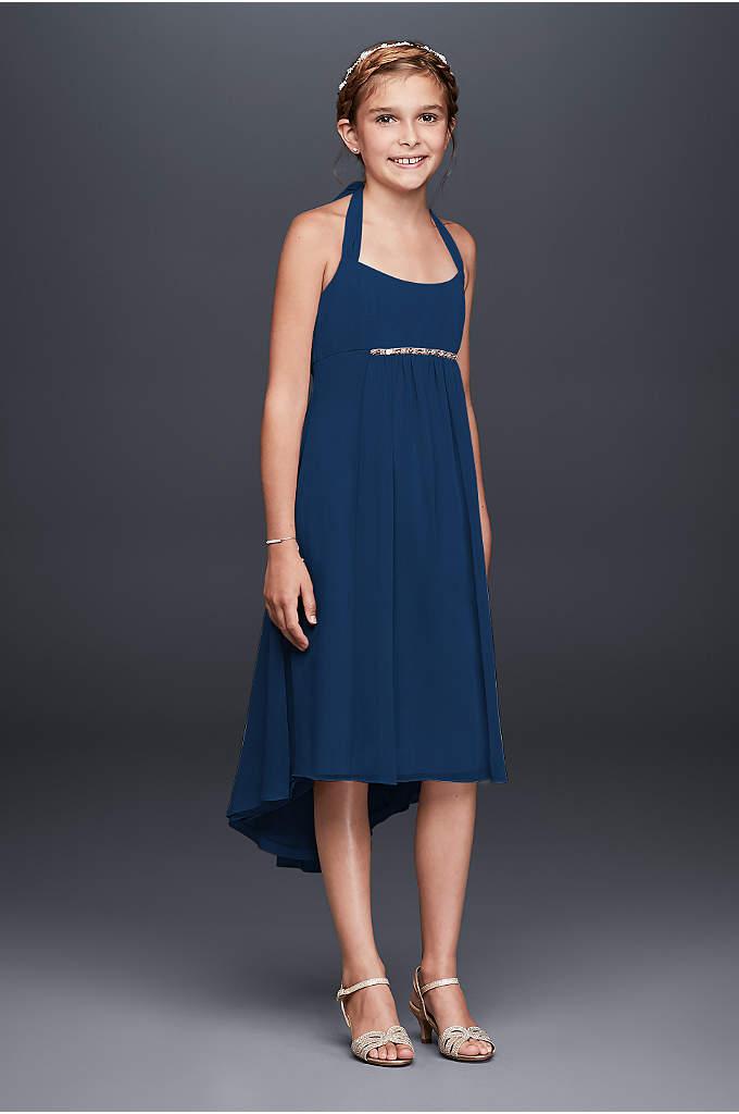Crinkle Chiffon Beaded High Low Hemline Dress - This chic and youthful chiffon dress is the