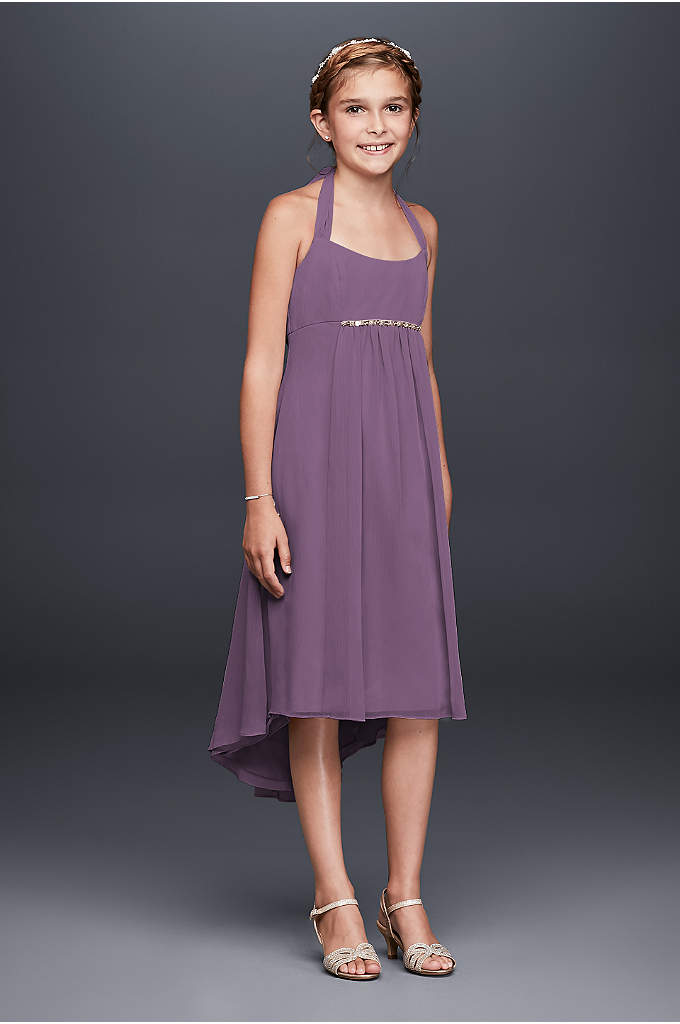 Crinkle Chiffon Beaded High Low Hemline Dress - This chic and youthful chiffon dress is the