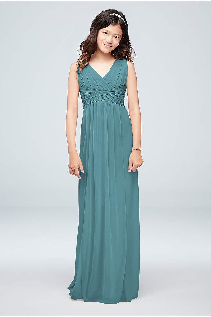 Long Sleeveless Mesh Dress with Ruched Waist