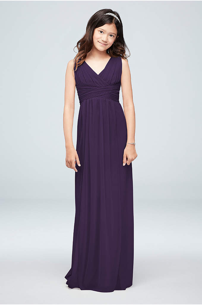 Long Mesh Sleeveless Dress with Ruched Waist