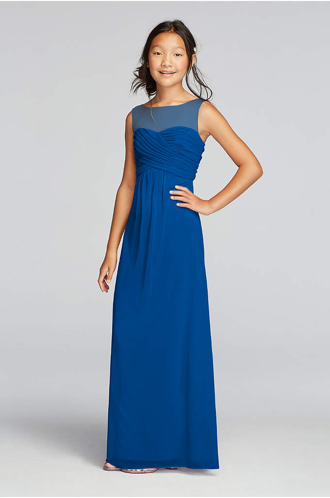 Long Mesh Dress with Illusion Tank Ruched Bodice - A nice choice for your junior bridesmaids: This