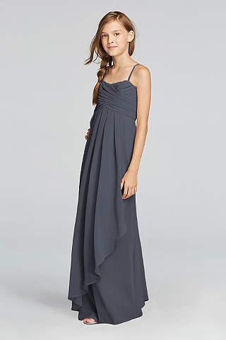 Vestido Para Dama Junior, Con Tirantes Tipo Spaguetti y Falda Con Olán en Cascada.