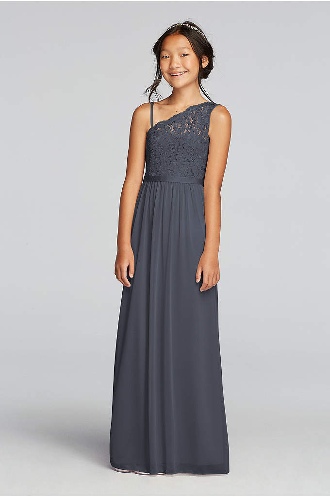 One Shoulder Long Lace Bodice Dress - The younger girls in your party will blend