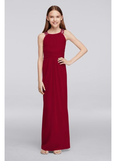 Long Junior Bridesmaid Dress with Beaded Neckline. JB9289. Short Pink Soft    Flowy Bridesmaid Dress ac8b0bbb6147