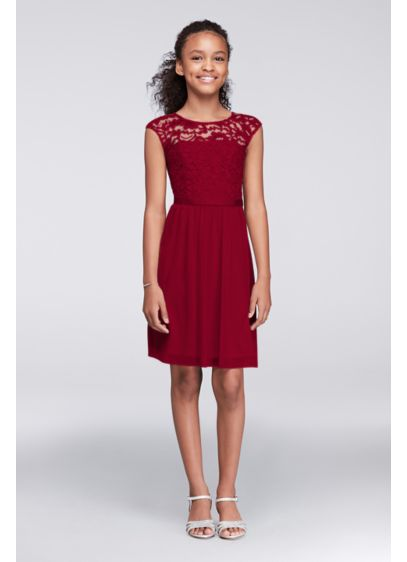 Cap Sleeve Lace and Mesh Girls Dress - Our most popular pairing, now perfectly proportioned for