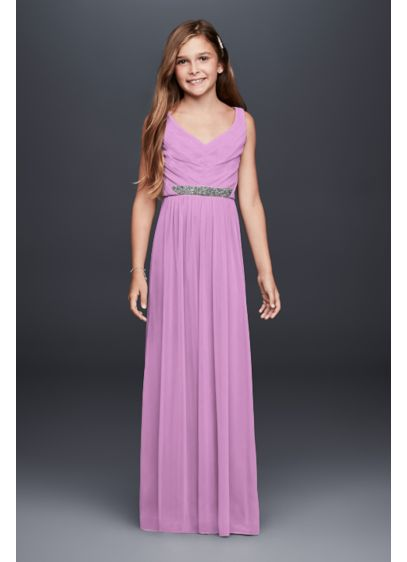 c1470ff34 Beaded Waist Long Pleated Junior Bridesmaid Dress