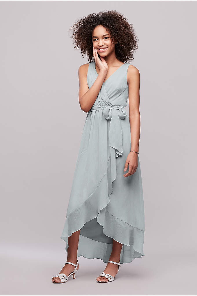 Ruffled Chiffon Faux-Wrap Junior Bridesmaid Dress - This breezy crinkle chiffon junior bridesmaid dress has