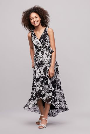 Printed Chiffon Faux-Wrap Junior Bridesmaid Dress   David's Bridal   Tuggl