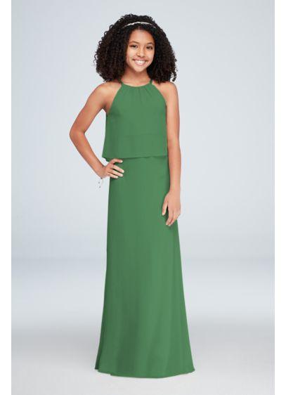 Halter Crinkle Chiffon Junior Bridesmaid Dress - This crinkle chiffon halter sheath junior bridesmaid dress