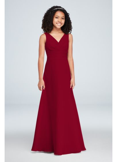 Surplice Tank Chiffon Junior Bridesmaid Dress - This soie chiffon junior bridesmaid dress features a