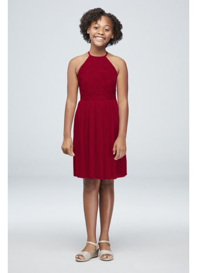 Open-Back Lace Mesh Short Junior Bridesmaid Dress - A high-neck lace bodice, paired with a keyhole