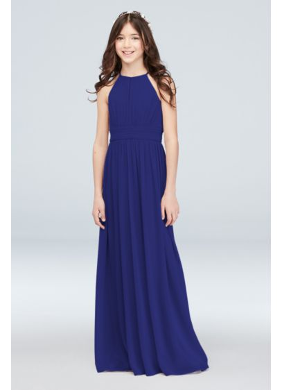 High-Neck Pleated Chiffon Junior Bridesmaid Dress - Graceful pleating and a high neckline add elegance