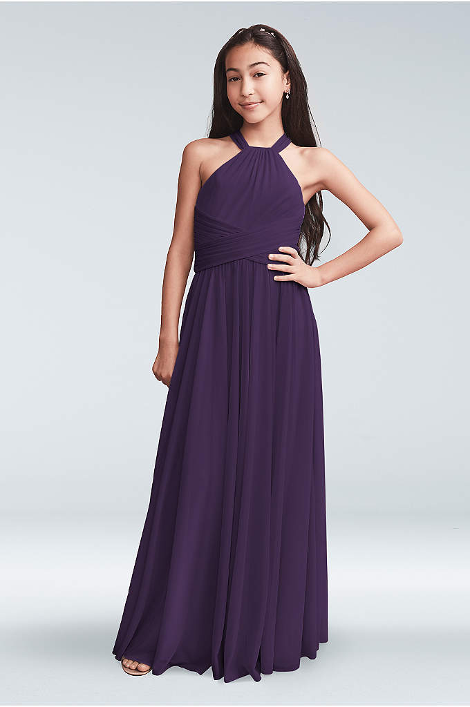 Mesh High Neck Junior Bridesmaid Dress
