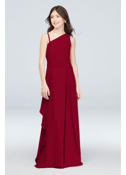 One Shoulder Georgette Junior Bridesmaid Dress - A beautiful side cascade flows from the pleated