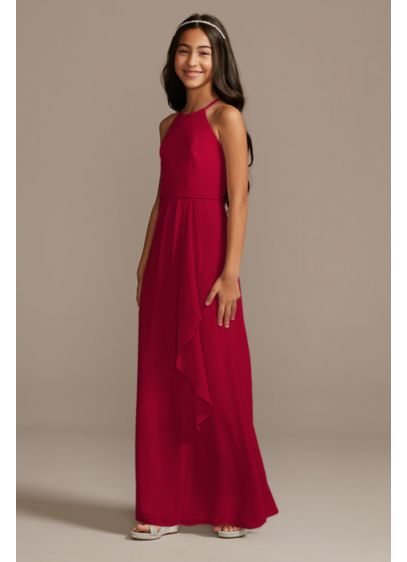 High Neck Chiffon Junior Bridesmaid Dress - This refined high-neck chiffon junior bridesmaid dress features