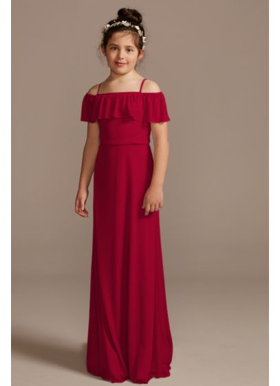 Off Shoulder Flounce Mesh Junior Bridesmaid Dress - Any boho-inspired teen or tween will love this