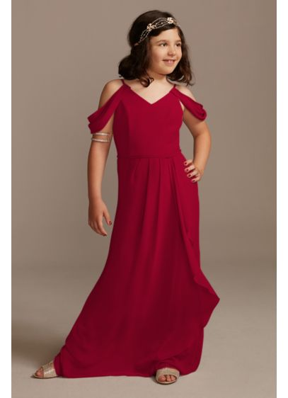 Off Shoulder Junior Bridesmaid Dress with Cascade - Draping at the sleeves, a spaghetti-strap V-neck bodice,