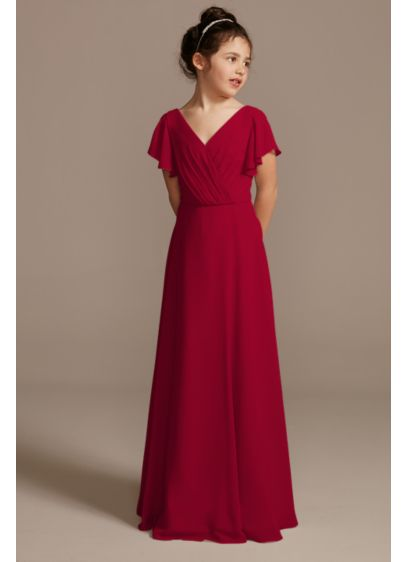 Flutter Sleeve Full Skirt Junior Bridesmaid Dress - From the softly pleated, V neckline to the
