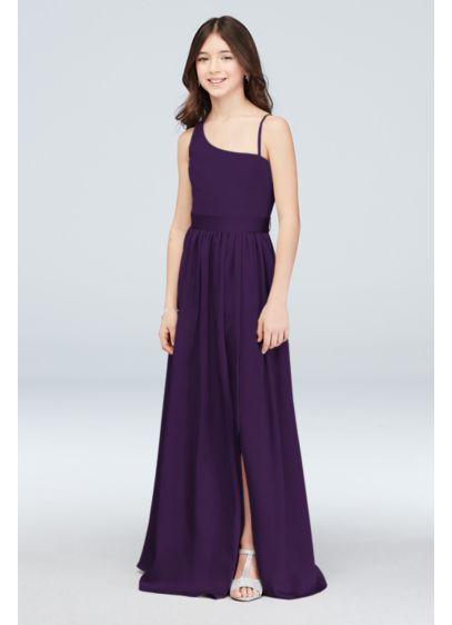 One Shoulder Junior Bridesmaid Dress withSash - An exquisite junior bridesmaid dress to perfectly complement