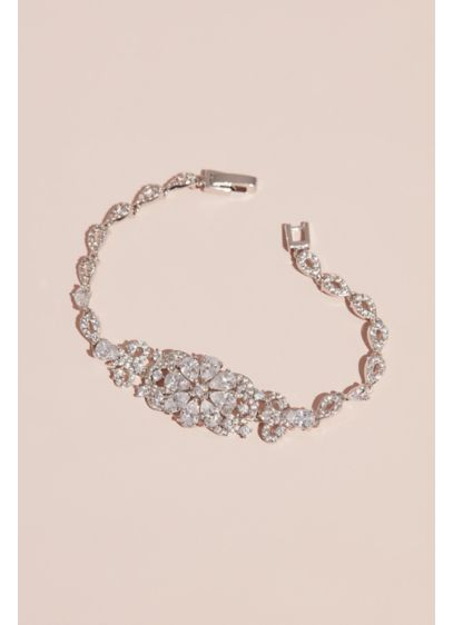 David's Bridal Grey (Crystal Flower Bracelet with Pave Tear Drop Links)