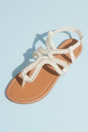 David's Bridal Ivory Flat Sandals (Pearl and Crystal Loop Strap Sandals)