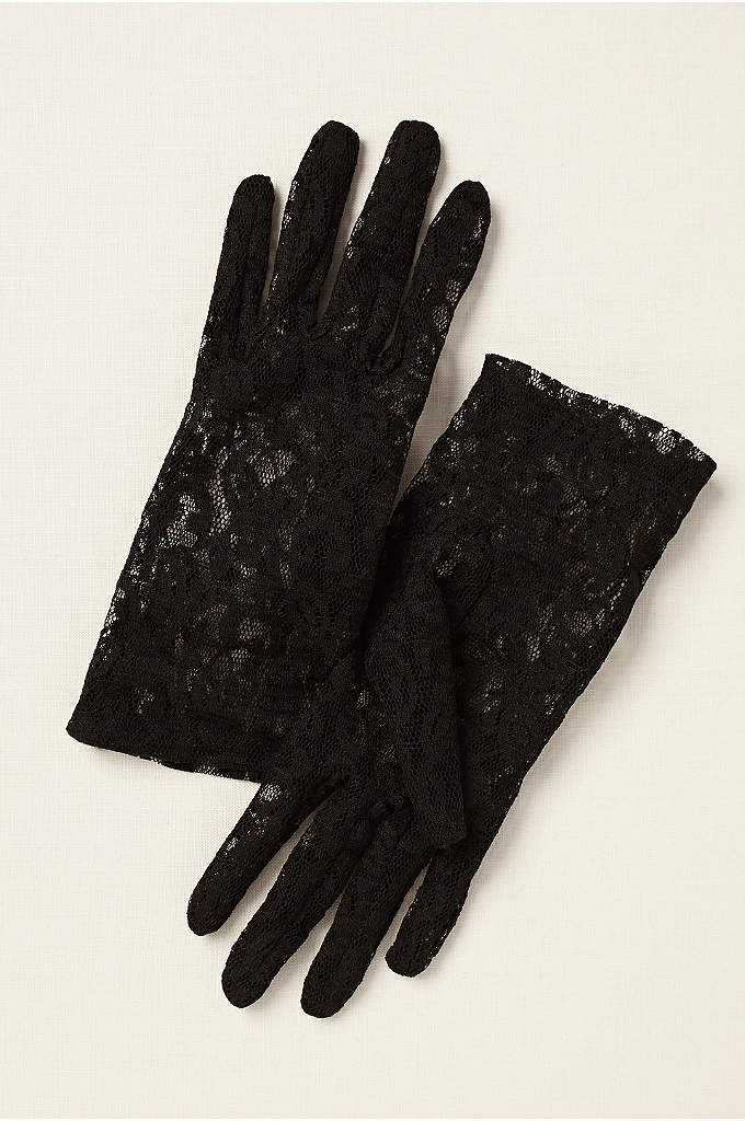 Lace Wrist-Length Gloves - These stretch-lace gloves add a delicate finish to
