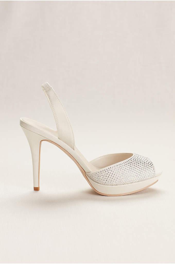 Platform Sling Back Crystal Peep Toe High Heel