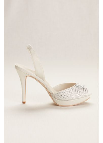David's Bridal Ivory (Platform Sling Back Crystal Peep Toe High Heel)