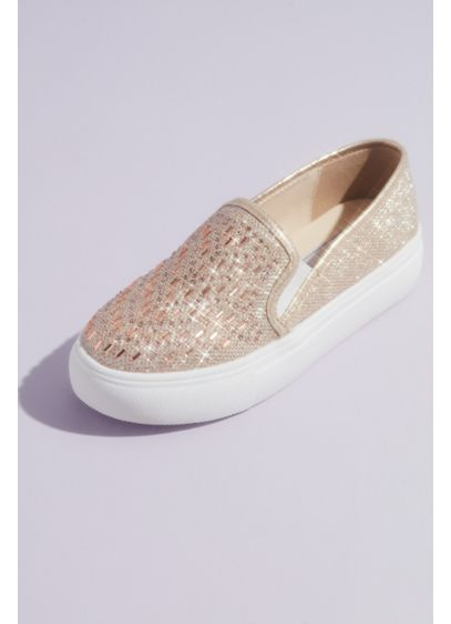 Jewel Shimmery Slip-On Sneakers with Crystals - Crafted of shimmery metallic fabric and topped with