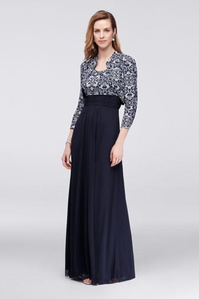 Printed Lace Bolero Jacket Dress With 34 Sleeves Davids Bridal