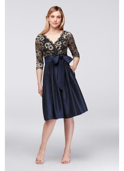 166059c21dd Floral Lace and Shantung Fit-and-Flare Dress - A regal look for the