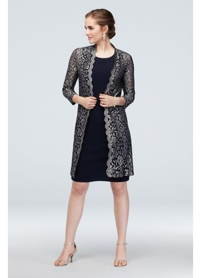 Short Tank Dress and Illusion Lace Jacket Set - For a pretty and polished look, try this