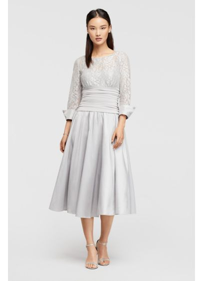 Lace And Taffeta Tea Length Dress Davids Bridal