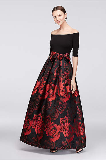 Off-The-Shoulder Crepe and Jacquard Ball Gown