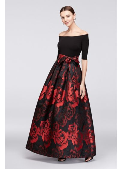 Off-The-Shoulder Crepe and Jacquard Ball Gown - This ball gown is in bloom: the rose