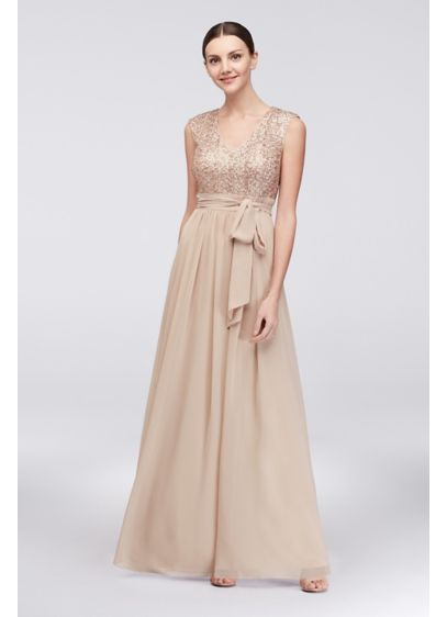Jessica Howard Ivory (Cap Sleeve Sequin and Chiffon A-Line Gown)