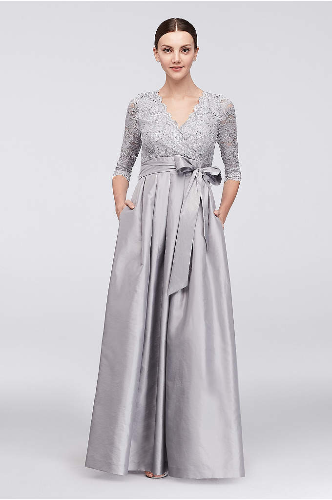 Lace and Taffeta Surplice Ball Gown - A regal look for the mother of the