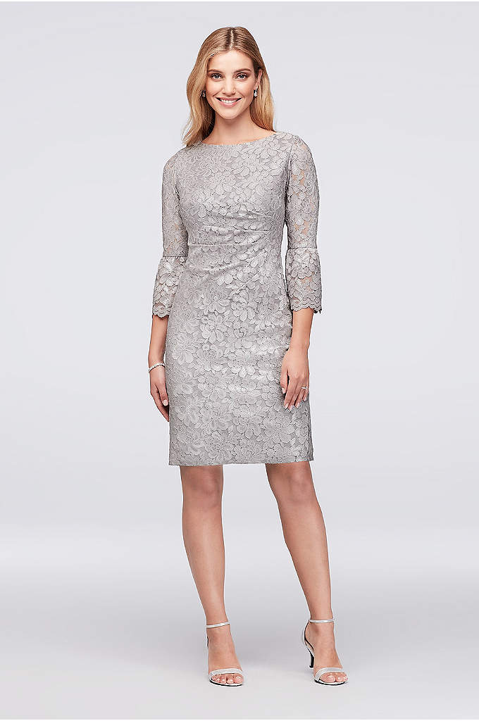 Metallic Lace Cocktail Dress with 3/4 Bell Sleeves - Metallic floral lace gleams on this figure-flattering sheath