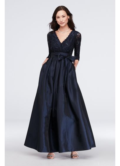 Lace Surplice Bodice Taffeta Ball Gown - A regal look for the mother of the