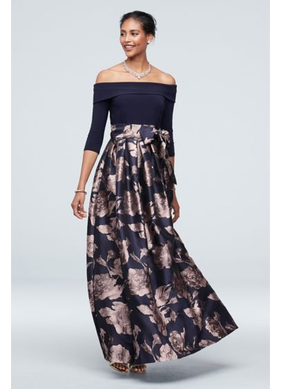 Off The Shoulder Gown with Jacquard Floral Skirt - An fashion-forward option for any event, you'll look