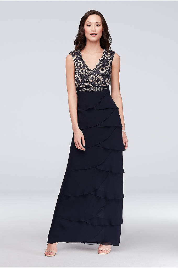 Lace and Tiered Chiffon Sheath Gown with Scarf - This lovely metallic lace and tiered chiffon sheath