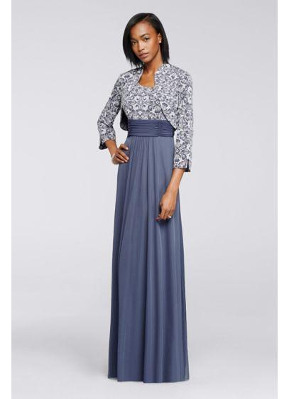Printed Bolero Jacket Dress With 34 Sleeves Davids Bridal