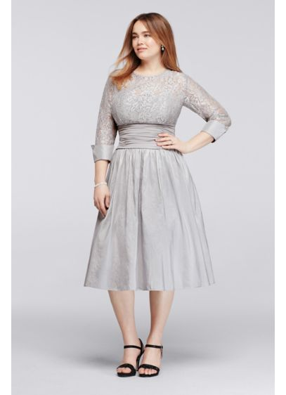 Plus Size Dress with Lace Bodice and Cuff Sleeves