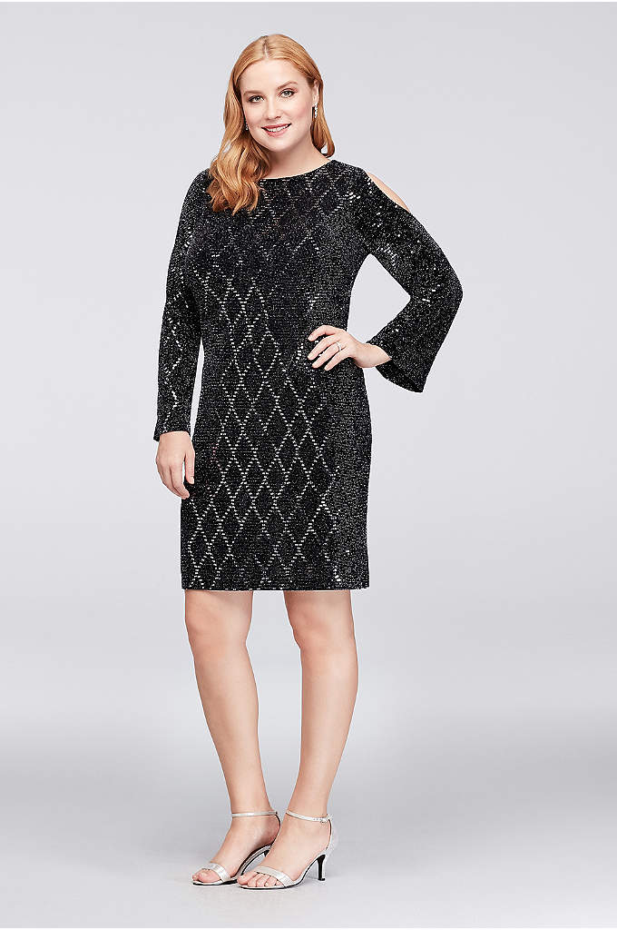 Glitter Jersey Cold-Shoulder Plus Size Shift Dress - Slinky, shimmery, and fun, this plus-size, glitter-dotted jersey