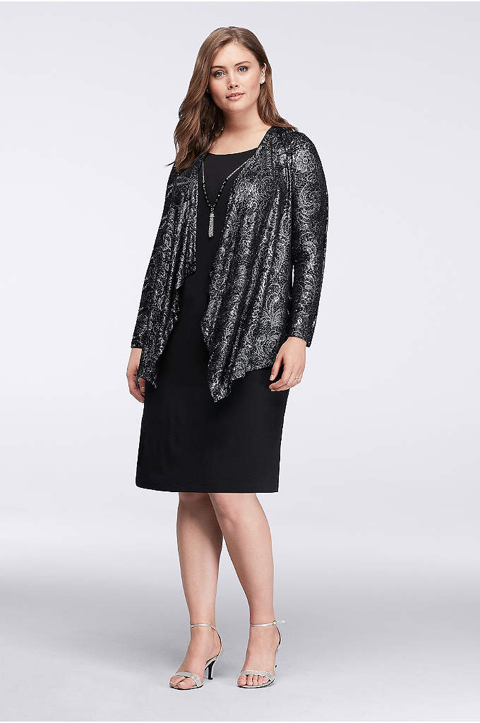 Shimmering Filigree Short Jacket Dress - This scoopneck jersey LBD offers the look of