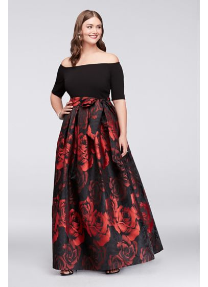 Off-The-Shoulder Jacquard Plus Size Ball Gown